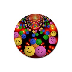 Smiley Laugh Funny Cheerful Rubber Round Coaster (4 pack)