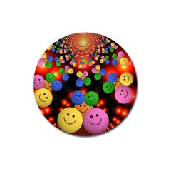 Smiley Laugh Funny Cheerful Magnet 3  (round)