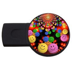 Smiley Laugh Funny Cheerful USB Flash Drive Round (1 GB)