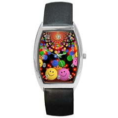Smiley Laugh Funny Cheerful Barrel Style Metal Watch