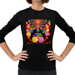 Smiley Laugh Funny Cheerful Women s Long Sleeve Dark T-Shirts