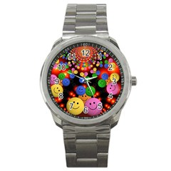 Smiley Laugh Funny Cheerful Sport Metal Watch