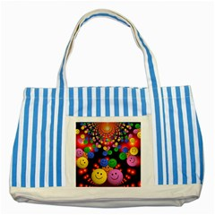 Smiley Laugh Funny Cheerful Striped Blue Tote Bag