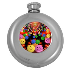 Smiley Laugh Funny Cheerful Round Hip Flask (5 oz)