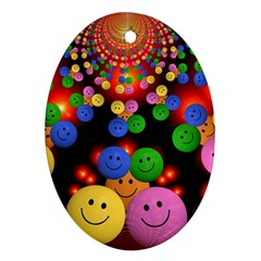 Smiley Laugh Funny Cheerful Oval Ornament (Two Sides)