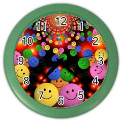 Smiley Laugh Funny Cheerful Color Wall Clocks