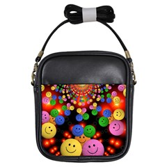 Smiley Laugh Funny Cheerful Girls Sling Bags