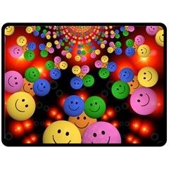 Smiley Laugh Funny Cheerful Fleece Blanket (Large)