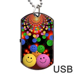 Smiley Laugh Funny Cheerful Dog Tag USB Flash (Two Sides)