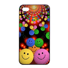 Smiley Laugh Funny Cheerful Apple iPhone 4/4s Seamless Case (Black)