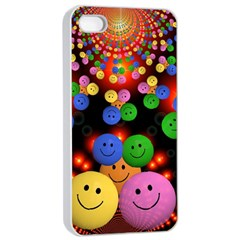 Smiley Laugh Funny Cheerful Apple Iphone 4/4s Seamless Case (white)