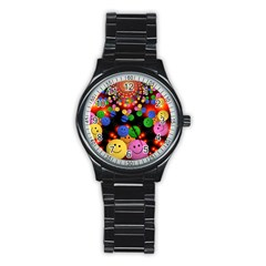 Smiley Laugh Funny Cheerful Stainless Steel Round Watch