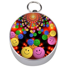 Smiley Laugh Funny Cheerful Silver Compasses