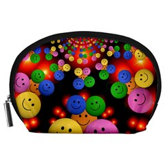 Smiley Laugh Funny Cheerful Accessory Pouches (Large)