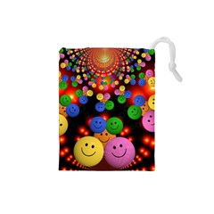 Smiley Laugh Funny Cheerful Drawstring Pouches (small)