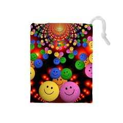 Smiley Laugh Funny Cheerful Drawstring Pouches (medium)