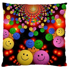 Smiley Laugh Funny Cheerful Large Flano Cushion Case (two Sides)