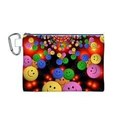 Smiley Laugh Funny Cheerful Canvas Cosmetic Bag (m)