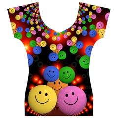 Smiley Laugh Funny Cheerful Women s V-Neck Cap Sleeve Top