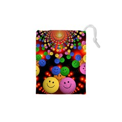 Smiley Laugh Funny Cheerful Drawstring Pouches (XS)