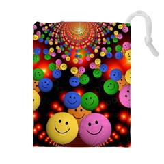 Smiley Laugh Funny Cheerful Drawstring Pouches (extra Large)