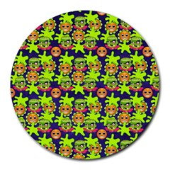 Smiley Background Smiley Grunge Round Mousepads