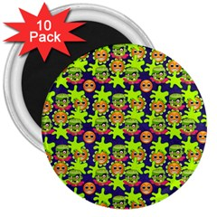 Smiley Background Smiley Grunge 3  Magnets (10 Pack)