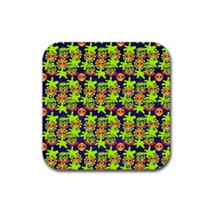 Smiley Background Smiley Grunge Rubber Square Coaster (4 pack)