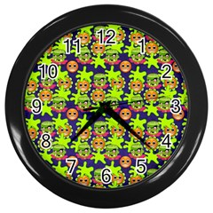Smiley Background Smiley Grunge Wall Clocks (black)