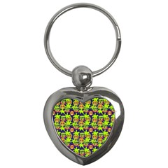 Smiley Background Smiley Grunge Key Chains (Heart)