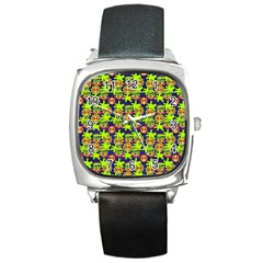 Smiley Background Smiley Grunge Square Metal Watch