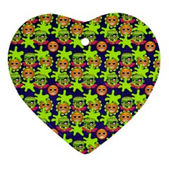 Smiley Background Smiley Grunge Heart Ornament (two Sides)