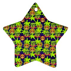 Smiley Background Smiley Grunge Star Ornament (two Sides)
