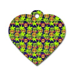Smiley Background Smiley Grunge Dog Tag Heart (One Side)