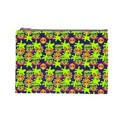 Smiley Background Smiley Grunge Cosmetic Bag (Large)