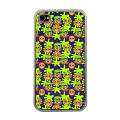 Smiley Background Smiley Grunge Apple iPhone 4 Case (Clear)