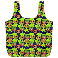 Smiley Background Smiley Grunge Full Print Recycle Bags (L)