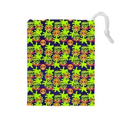 Smiley Background Smiley Grunge Drawstring Pouches (large)