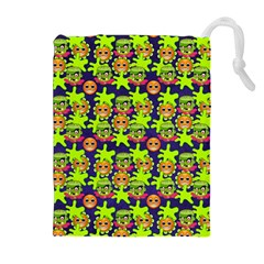 Smiley Background Smiley Grunge Drawstring Pouches (Extra Large)