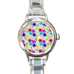 Snowflake Pattern Repeated Round Italian Charm Watch
