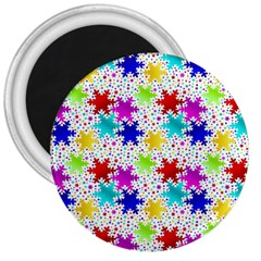Snowflake Pattern Repeated 3  Magnets