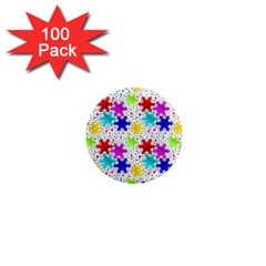 Snowflake Pattern Repeated 1  Mini Magnets (100 Pack)