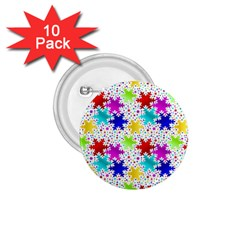 Snowflake Pattern Repeated 1 75  Buttons (10 Pack)
