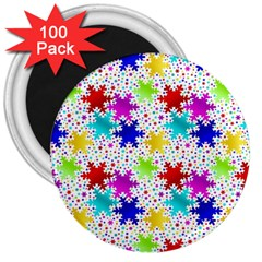 Snowflake Pattern Repeated 3  Magnets (100 pack)