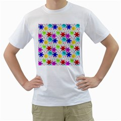 Snowflake Pattern Repeated Men s T-Shirt (White) (Two Sided)