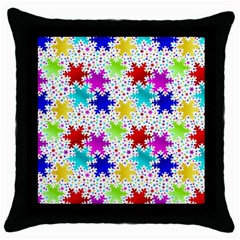 Snowflake Pattern Repeated Throw Pillow Case (Black)