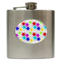 Snowflake Pattern Repeated Hip Flask (6 Oz)