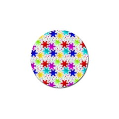 Snowflake Pattern Repeated Golf Ball Marker