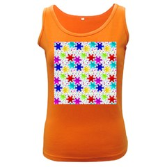 Snowflake Pattern Repeated Women s Dark Tank Top