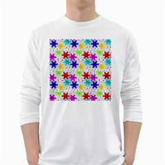 Snowflake Pattern Repeated White Long Sleeve T-Shirts